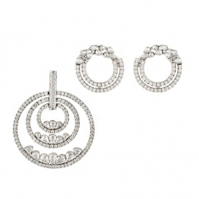 18k White Gold Diamond Circle of Life Earring and Pendant Suite